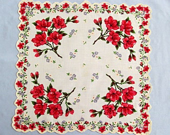 Linen Handkerchief, Pink and Red Flowers on White Linen, Vintage