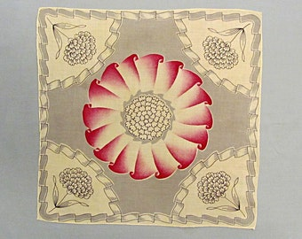 Vintage Linen Handkerchief, Grey and White with Pink Center Scroll