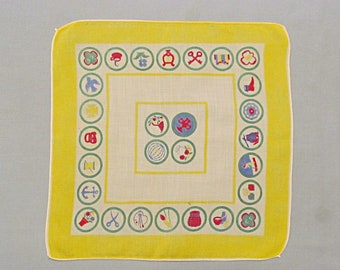 Girl Scout Handkerchief, Emblem and Badges, Vintage Linen Hanky