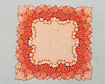 Linen Vintage Handkerchief, Red and Pink Leaves, Contoured Edge