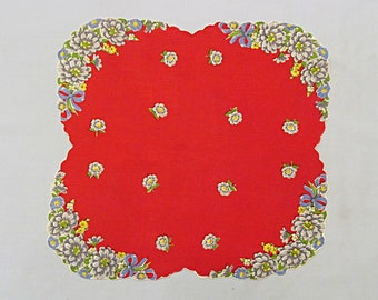 Vintage Handkerchief, Red 'Lipstick', Hanky, Flowers in Each Corner