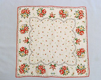 Vintage Handkerchief, Pretty Colorful Flowers on White Background, Linen
