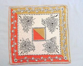 Vintage Linen Handkerchief, Pink and Beige Diagonal Design with Flowers