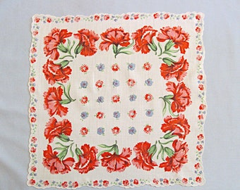 Floral Linen Handkerchief, Pink and Red Carnations on White Background, Vintage