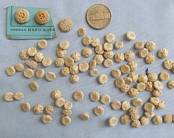 Thread Buttons, Lot of Tiny Small Ecru Vintage Buttons, Victorian, Woven Thread