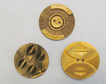 Three Vintage Buttons, Carved Celluloid, 1920s Deco Style, Large Size