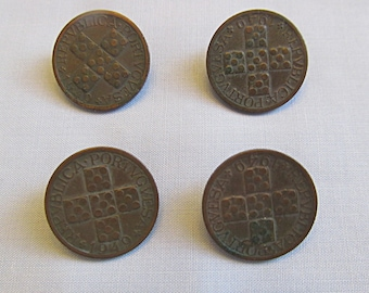 Copper 1949 20 Reals Four Buttons Made from Portuguese Coins