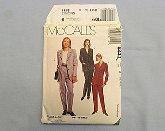 Sewing Pattern, Lined Jacket, with Top and Pants, McCall's #8411, Uncut, Size 12-14-16, 1996