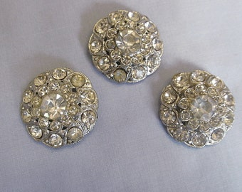 Three Large Rhinestone Buttons, Vintage Matched Set, Lots of Sparkle