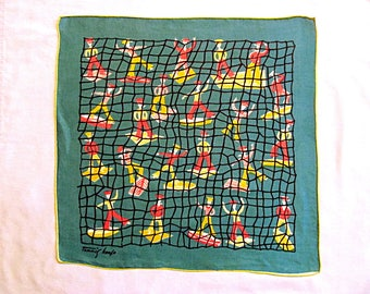 Handkerchief, Designer Tammis Keefe, Cute and Colorful Sailors and Fishnet