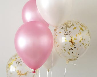 Pink And Gold Confetti Latex Balloons Party First Birthday Bridal Shower Baby White Supplies