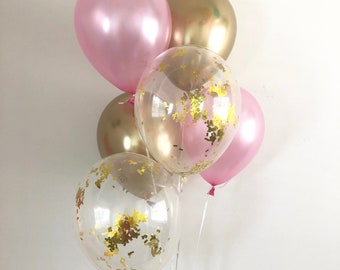 Pink And Chrome Gold Confetti Latex Balloons Party First Birthday Bridal Shower Baby Supplies