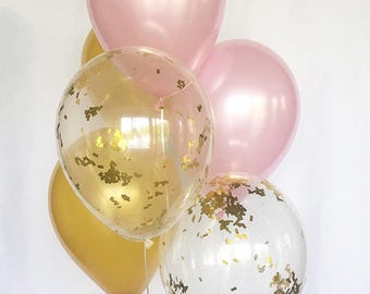 Pink And Gold Confetti Latex Balloons Party First Birthday Bridal Shower Baby Supplies