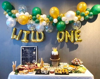 Balloon Garland Wild One Green Gold White Balloons DIY Kit Baby Shower Party And