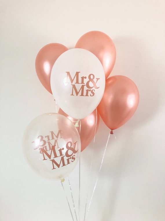 "5 Mr /& Mrs Rose Gold Balloons 11/"" Latex Wedding Engagement Decorations"