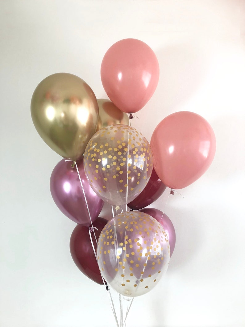 Burgundy Chrome Gold Dusty Rose Chrome Mauve Gold Confetti Balloons Bridal Shower Fall Wedding Mauve Dusty Rose Shower Fall in Love Burgundy