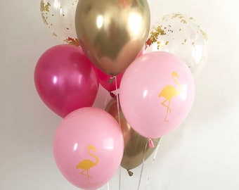 Flamingo Hot Pink Chrome Gold Gold Confetti Latex Balloons Flamingo Party Beach Bachelorette Lets Flamingle Confetti Balloons Flamingo Party