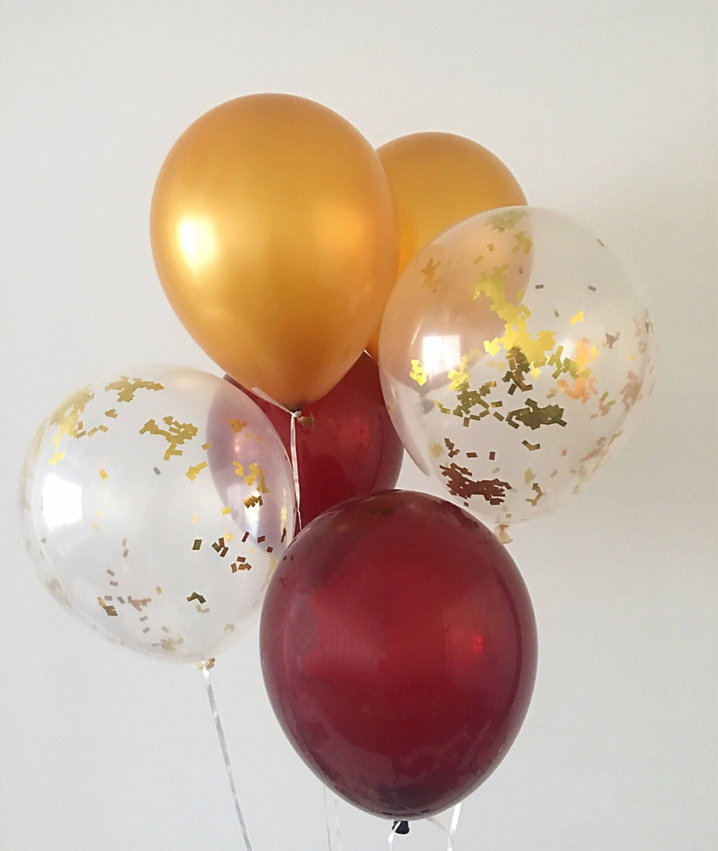 Burgundy Gold Gold Confetti Balloons Burgundy Latex Balloons | Etsy