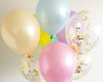 Rainbow Latex Balloons Rainbow Confetti Balloons Unicorn Party Rainbow Party Pastel Rainbow Balloons Pink Peach Yellow Mint Lavender Blue