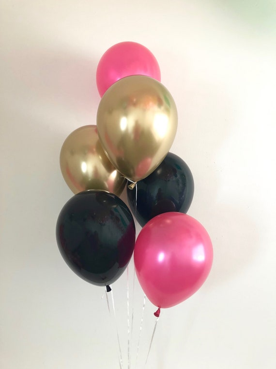 Hot Pink Black Chrome Gold Latex Balloons Black Pink Gold