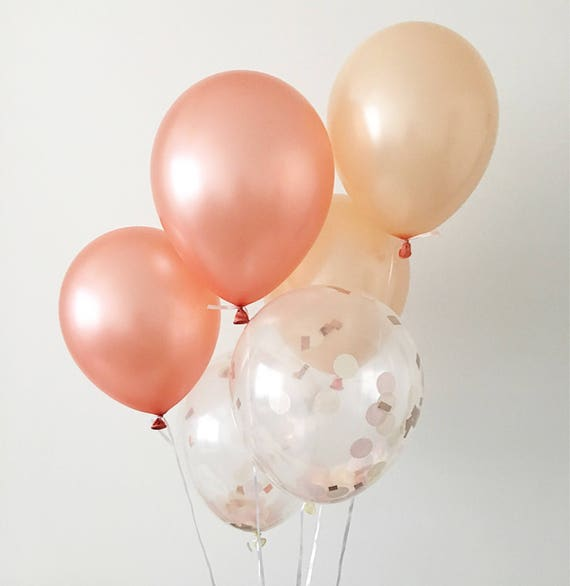 Rose Gold Balloon Bouquet Bundle with Confetti Balloons for Copper Fall//Autumn Wedding Decor Rose Gold Party Decorations Birthday Party Bridal Shower Baby Showe Weddings Engagements Rose Gold