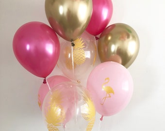 Pineapple Balloons Flamingo Balloons Hot Pink Gold Chrome Pineapple Balloons FlamingoParty Pink Gold Party Pineapple Party Bachelorette Pink