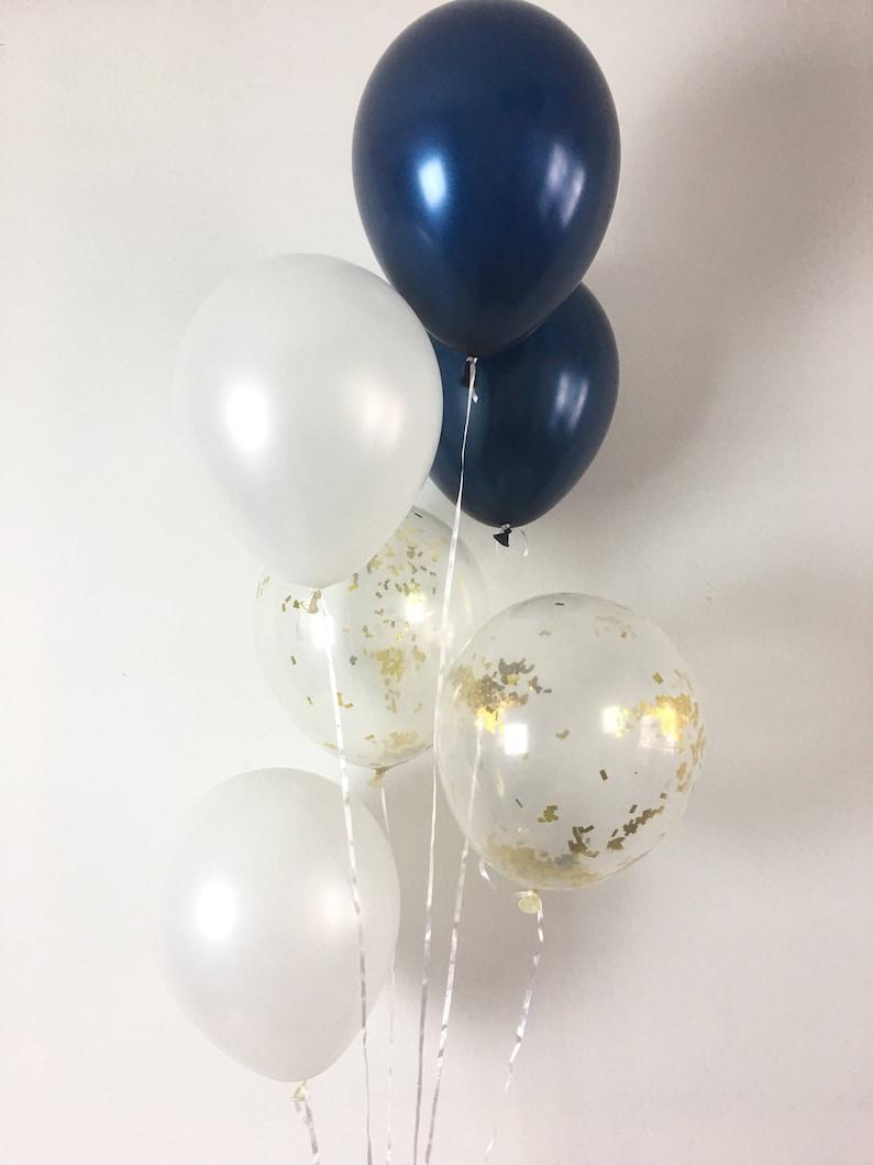 35d31b3af9a1ab Marine confettis blanc et or Latex ballons bleu marine et or blanc  fournitures parti parti marine Bridal Shower ballons bébé douche bleu  marine et ...