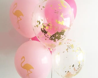 Flamingo Hot Pink Gold Confetti Latex Balloons Flamingo Party Beach Bachelorette Lets Flamingle Confetti Balloons Flamingo Latex Balloons