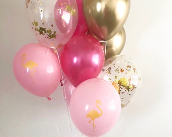 Flamingo Balloons Chrome Gold Pearl Pink Hot Pink Gold Confetti Latex Balloons Flamingo Party Beach Bachelorette Lets Flamingle Confetti