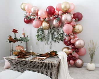 Balloon Garland Fall Balloon Garland Kit Chrome Rose Gold Dusty Rose Burgundy Balloons Fall Bridal Shower Wedding Fall in Love Rose Gold