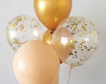 Gold Nude Gold Confetti Latex Balloons Neutral Party Decor Neutral Wedding Bachelorette Party Gold Balloons Nude Balloons Gold Confetti