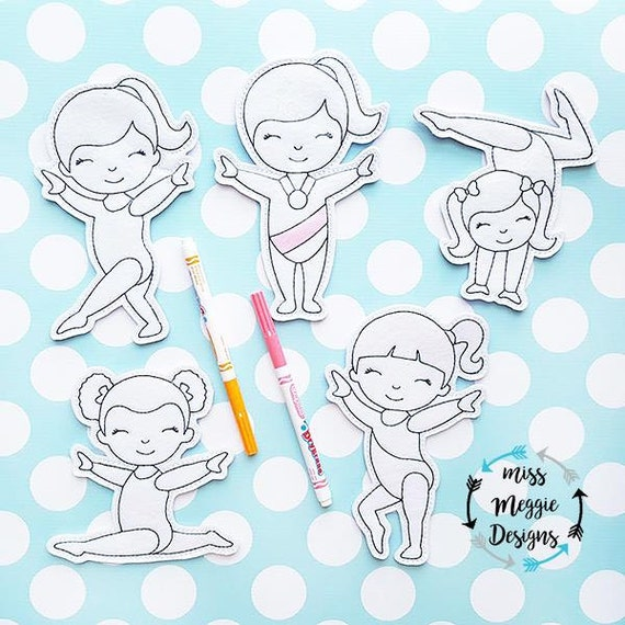 Gimnasia niñas set para colorear muñecas diseño del bordado | Etsy