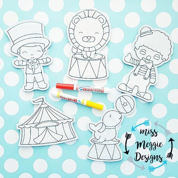 Circo Para Colorear Muñecas Archivo De Diseño De Bordado Con Aro De 5 X 7