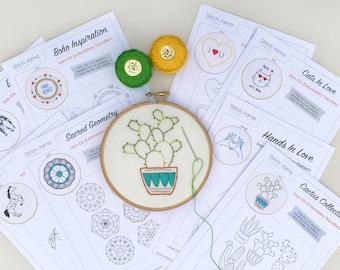 24 Embroidery Patterns MEGABUNDLE! • PDF Hand Embroidery Patterns • Flowers, Unicorn, Cactus, Elephant, Sampler (PDF)