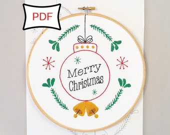 Christmas Cheer Holiday Embroidery Pattern • PDF Digital Embroidery Pattern • Christmas Ornament Embroidery Pattern • Christmas Decor