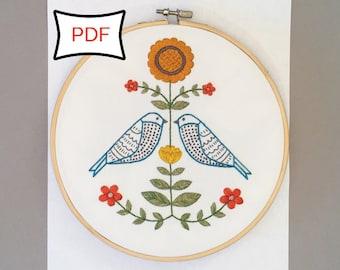 Folk Art Garden Embroidery Pattern • PDF Download Folk Art Craft Embroidery Pattern