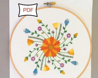 Fresh Flowers • Floral Wildflower Spring Embroidery Pattern • PDF Download