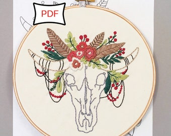 Desert Dreams • Floral Cow Skull Embroidery Pattern • PDF Download