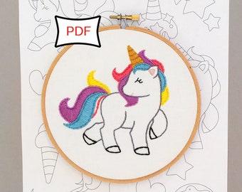Unicorn Party Embroidery Pattern • PDF Digital Download Hand Embroidery Pattern • Unicorn Embroidery Pattern Sampler • Hoop Art