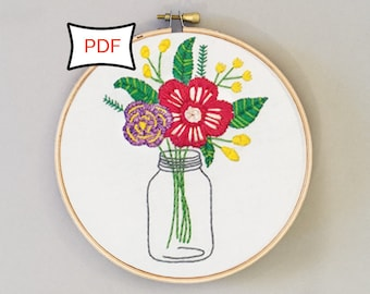 Country Blooms Floral Mason Jar Embroidery Pattern • PDF Download • Digital Flower Embroidery Pattern Download