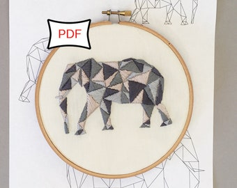 Geometric Elephant Embroidery Pattern • PDF Download