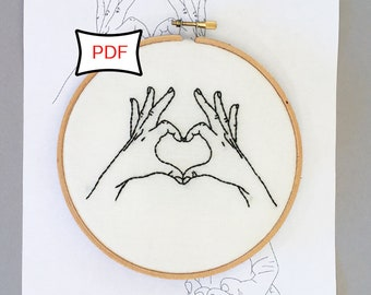 Hands in Love Embroidery Pattern • PDF Download Love Embroidery Pattern • ASL
