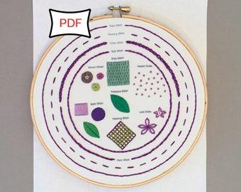 Embroidery Stitch Sampler • PDF Download • Embroidery Sampler Pattern Digital Download