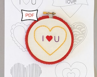Sweet Hearts Embroidery Pattern • PDF Download