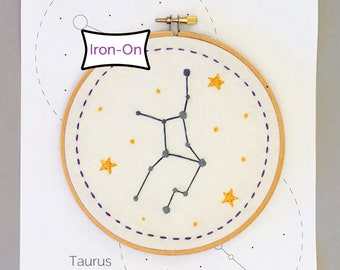 12 Zodiac Constellation Embroidery Patterns • Iron On Transfers