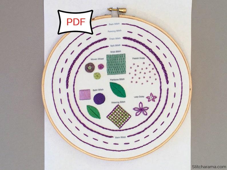 Embroidery Stitch Sampler  PDF Download  Embroidery Sampler image 0