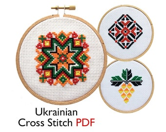 PDF Folk Art Cross Stitch Pattern • Traditional Ukrainian Counted Cross Stitch • Fair Trade