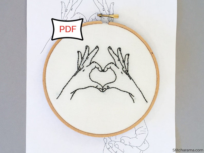 Hands in Love Embroidery Pattern  PDF Download Love image 1