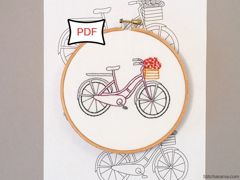 Bicycle Basket  Embroidery Pattern  PDF Download image 0
