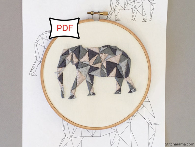 Geometric Elephant Embroidery Pattern  PDF Download image 0